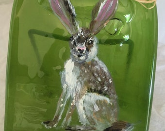 Hand Painted Jackrabbit Green Glass Wine Bottle Cheese Tray/Platter