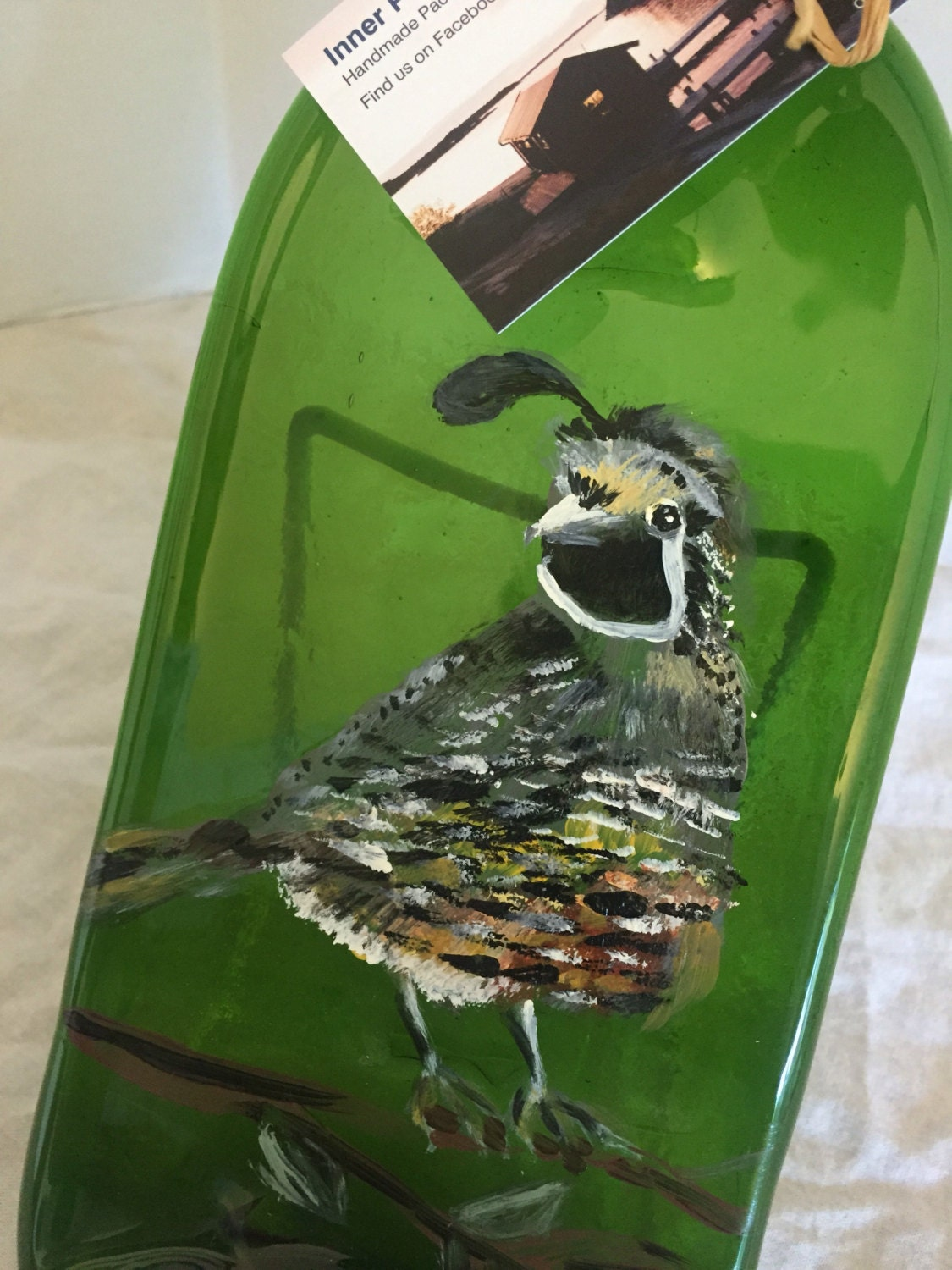 Hand Painted Quail Green Glass Wine Bottle Cheese Tray/Platter