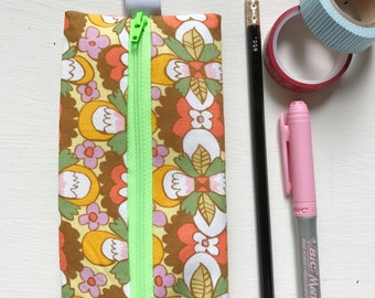 Funky Vintage (Inspired) Bold Floral Fabric Pencil Case Binder Pouch/ Journaling Case/Eyeglass Case with Elastic