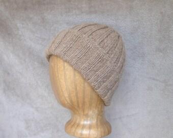 Alpaca Wool Hat, Hand Knit, Roll Brim Beanie, Watch Cap, Natural Brown Stocking Cap