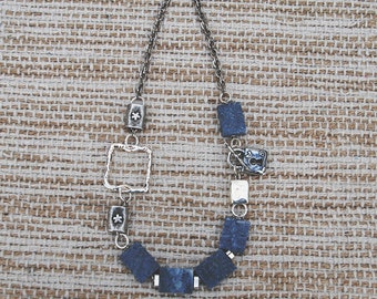 Necklace with blue coral