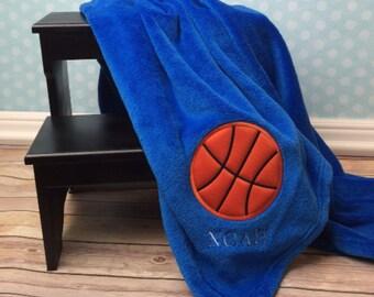Basketball gift etsy basketball blanket personalized applique blanket basketball applique sport blanket birthday gift negle Choice Image