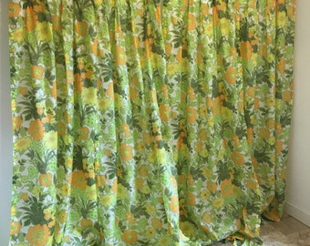 Vintage Curtains, green floral curtains, mod curtains, groovy curtains, acetate curtains, long curtains