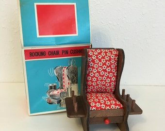 vintage rocking chair pin cushion, made in Japan, Borgfeldt toys, vintage seeing notions