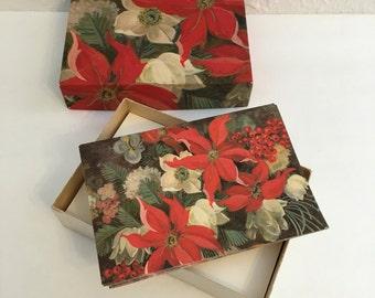 Vintage Stationery Set, Vintage Christmas Cards, Poinsettia Cards, New Vintagr Stationery
