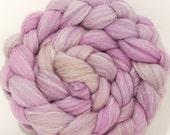 Hand dyed merino/ silk top for spinning  - Cochineal- (4.2 oz.) merino/ sw merino /silk ( 40/40/20)