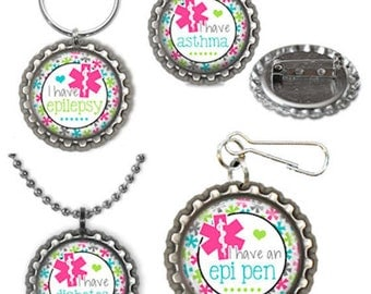 Medical Alert Asthma Epi Pen Diabetes Epilepsy Pin Keyring Necklace Zipper Pull