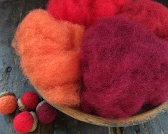 Needle Felting Wool - Tomato Garden Wool Sampler-Wet Felting Wool