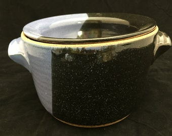 """6-1/2"""" dia. x 4-1/2 """" tall Stoneware Pottery Dip Crock in Light Purple and Black High Fire Glazes"""