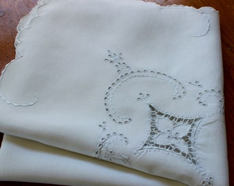Vintage Linen Tablecloth White Embroidery Cutwork Madeira 50 Square Handmade