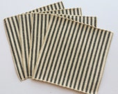 Small Black and White Ticking Cloth Cocktail Napkins - Lunchbox Napkins - Set of Four
