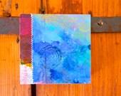 blue // wood panel// original art // flower