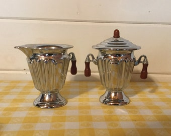 Vintage Chrome and Bakelite Sugar and Creamer, Tested Possitive