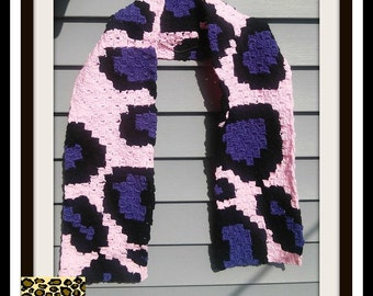 Cheetah Print Scarf, C2C Graph, Crochet Pattern