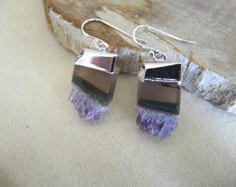 Amethyst Earrings, Amethyst Slice Earrings, Sterling Silver Earrings, Amethyst Druzy Earrings, February Birthstone, Jewelry Gifts For Her