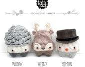 4 seasons: WINTER (pine cone, reindeer, snowman) • lalylala crochet pattern / amigurumi