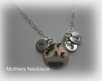 Mothers Necklace, Children Initials,Gift for Mom, Family Tree Necklace,Hand Stamped Jewelry,Personalized Gift, Sterling Silver Necklace