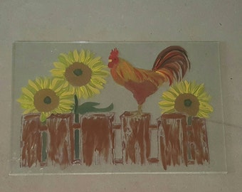 Hand painted Rooster on repurposed glass shelf