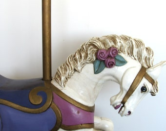Antique Carousel Horse - Full Size White Carousel Horse With Rose Detail