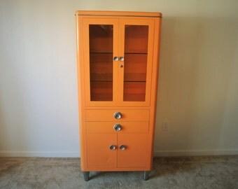 Vintage Hamilton Medical Cabinet - Large Orange Metal Cabinet w/ Glass Doors & Drawers