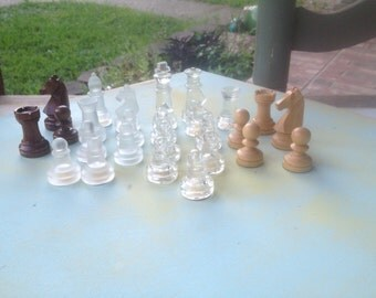 Mixed Lot Vintage Wooden and Glass Chess Game Pieces, Vintage Game Pieces, Assemblage Supplies