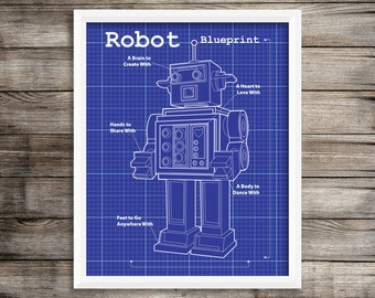 Dark Blue Robot Blueprint.  Robot 8X10 Art Print ~ Digital Download.  Home Decor