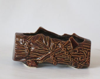 McCoy Brown Ceramic Log Planter with Wood Cutting Tools. Perfect Condition.