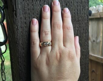 Old Mine Cut Diamond Gypsy Ring