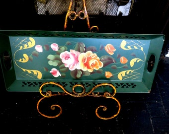 "TRAY ... Vintage  Country French Beautiful Tole Tray 9 x 22"" w  reticulated Galley signed"