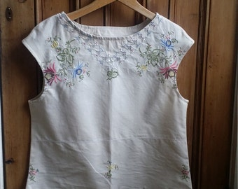 Vintage linens embroidered blouse sleeveless vest summer top tops and tees  floral blouses folk tops hippie clothes  Dolly Tospy Etsy UK