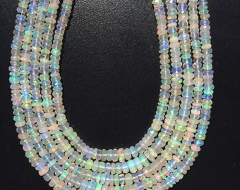 Full Strand of Amazing Blue Green Fire Ethiopian Opal Faceted Beads Strands 14 inches long Superb quality Flashy gemstone beads for jewelry