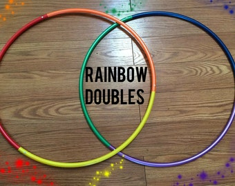 "SALE 20% off - 2 Three-Piece Metallic 5/8"" Polypro Rainbow DOUBLES Hula Hoops -  Exercise and Fitness sectional travel push button collapsib"