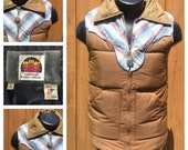 VINTAGE 1970s PUFFY Ski Vest - Retro 70s Trucker Vest - Miller Outerwear Down Vest - Made in the USA