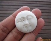 30 mm Hand carved Phase Moon  cabochon, bovine carving , Bone carving, Jewelry making Supplies S6379