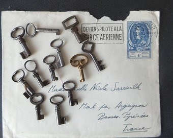 12 antique tiny skeleton keys.