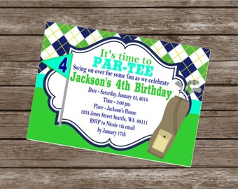 PREPPY ARGYLE Golf Happy Birthday or Baby Shower Party Banner Light Blue Navy Green - Party Packs Available