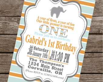 MOD ELEPHANT Happy Birthday Party or Baby Shower Invitations Set of 12 {1 Dozen} - Party Packs Available