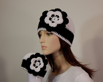 Matching Mom and Baby Hats, Black White Flower Hat, Photo Prop, Mama and Me, Baby Shower Gift, Baby Girl, Newborn gifts, MarlowsGiftCottage