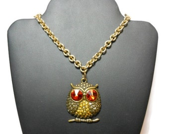 Antiqued brass owl necklace, vintage gold tone heavy link chain, new large rhinestone and antiqued brass owl pendant