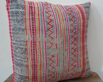 "Cotton batik,20""x20""Vintage Textile Decorative Cushion cover, Tradition Ethnic fabric from Thailand"