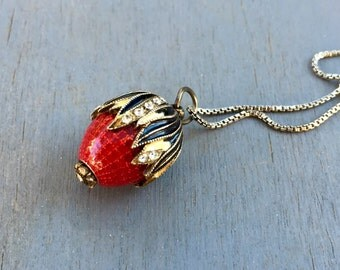 Fabrege Style Enameled pendant Red Rose Hip Berry Fruit necklace charm