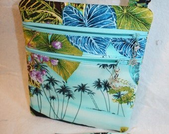 Handcrafted Crossbody Bag-  Tropical - Hawaiian Themed Fabric  Adj Strap