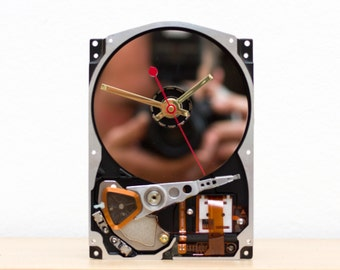 Desk clock - recycled Computer hard drive clock - HDD clock - gift for men - gift for him - computer nerd gift - ready to ship - c5799
