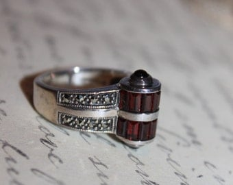 Sterling & Red Stone with Marcasites Ring, Hallmarked ACi, size 6