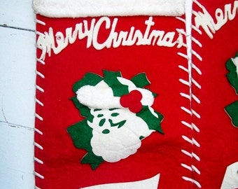 Vintage Red Felt Christmas Stocking Santa Nameplate 1950's YOUR CHOICE
