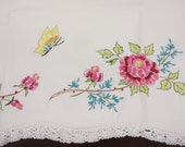 Vintage Embroidered Cotton Pillow Case Pink Roses Floral & Butterfly - Standard Size - White Crochet Trim