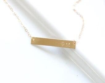 PHI MU Sorority Necklace - Greek Jewelry - Hand Stamped Bar Necklace - Gold Filled, Sterling Silver - Licensed Designer