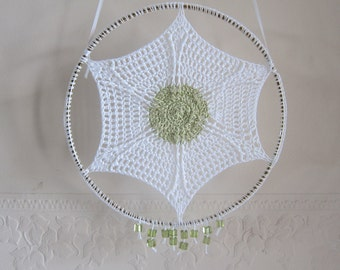 Green Beaded Suncatcher, Crocheted Suncatcher, Suncatchers, Cottage Suncatcher, Crochet Hanging, Crochet for Window, Crochet in Hoop