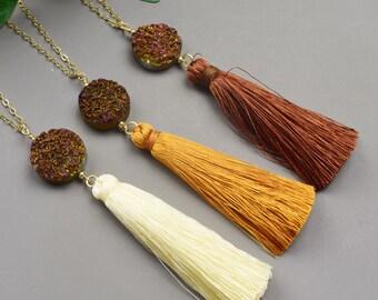 Druzy Tassel Necklace - Gold Tassel Necklace - Long Layering Necklace - Trendy Necklace  - Statement Necklace