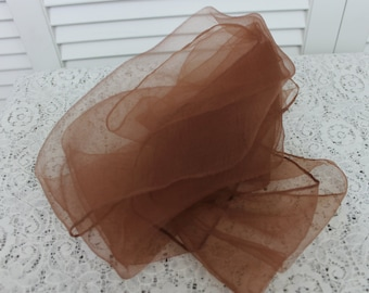 Vintage Brown Scarf 1950s Nylon Chiffon Rockabilly